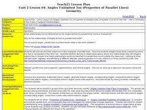 Properties of Parallel Lines Lesson Plan
