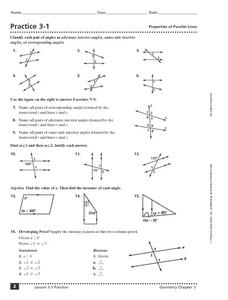 Properties of Parallel Lines Worksheet