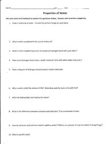 water properties worksheet - Termolak