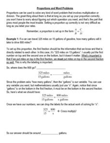 Proportions and Word Problems Worksheet
