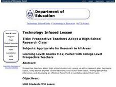 Prospective Teachers Adopt a High School Research Class Lesson Plan