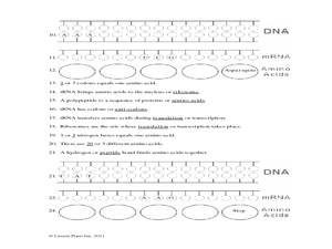 Protein Synthesis Worksheet 9th - 12th Grade Worksheet ...
