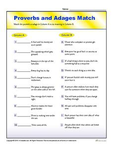 Proverbs and adages worksheets 5 grade