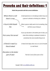 Proverbs and Their Definitions: 1 Worksheet