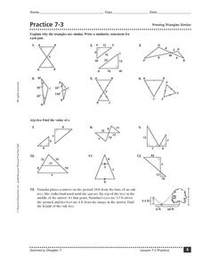 Proving Triangles Similar 10th Grade Worksheet | Lesson Planet