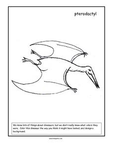 Pterodactyl Coloring Page Worksheet