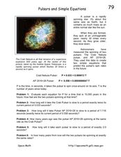 Pulsars and Simple Equations Worksheet