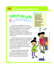 Pump Up The Jams: Writing Strong Closing Statements Worksheet