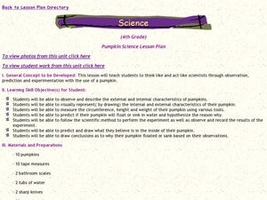 Pumpkin Science Lesson Plan