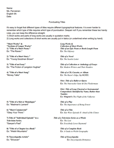 Punctuating Titles Worksheet Worksheets For School - Studioxcess