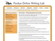 Punctuation Exercise Worksheet