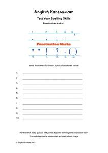 Punctuation Marks 1- Test Your Spelling Skills Worksheet