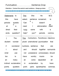 Punctuation Sentence Drop Worksheet