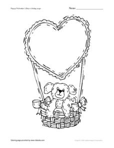 Puppy Valentine's Day Coloring Page Worksheet