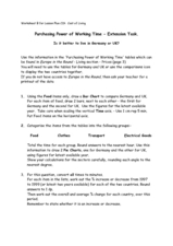 Purchasing Power of Working Time - Extension Task Worksheet