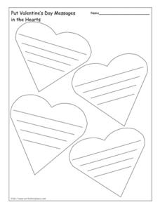 Put Valentine's Day Messages in the Hearts Worksheet