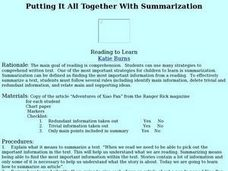 Putting It All Together With Summarization Lesson Plan