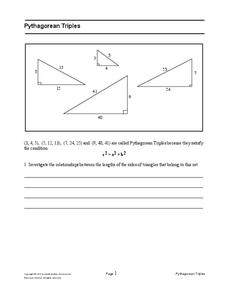 Printables Pythagorean Triples Worksheet pythagorean triples 8th 10th grade worksheet lesson planet worksheet