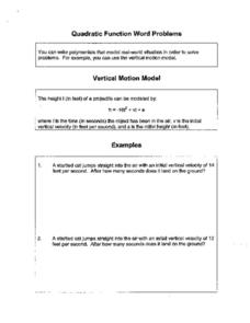 Quadratic Function Word Problems Worksheet