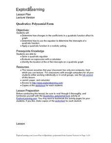 Quadratics: Polynomial Form Lesson Plan