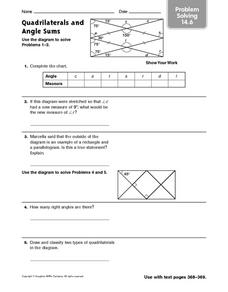 Quadrilaterals and Angle Sums - Problem Solving 14.6 Worksheet