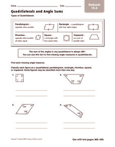 Quadrilaterals and Angle Sums: Reteach Worksheet