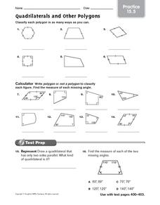 Quadrilaterals and Other Polygons: Practice Worksheet