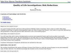 Quality of Life Investigations: Risk Reductions Lesson Plan