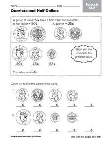 Quarters and Half-Dollars: Reteach Worksheet