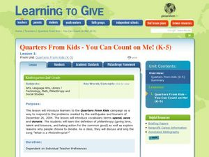 Quarters From Kids - You Can Count on Me! Lesson Plan