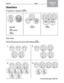 Quarters: Reteach Worksheet