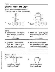 Quarts, Pints, and Cups Worksheet