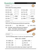 Questions - Long Multiplication Worksheet