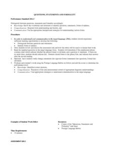 Questions, Statements And Formality Lesson Plan
