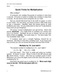 Quick Tricks for Multiplication Worksheet