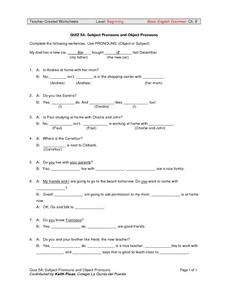 QUIZ 5A: Subject Pronouns and Object Pronouns Worksheet