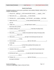 Quiz 6A: Verb Practice Worksheet