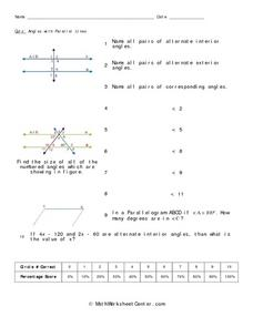 ... Angles with Parallel Lines 7th - 8th Grade Worksheet | Lesson Planet