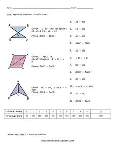 Quiz:  Beginning Congruent Triangle Proofs Worksheet