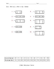 Quiz:  Multiply a Matrix by a Number Worksheet