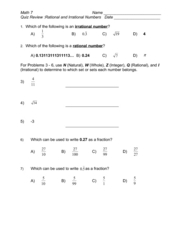 Worksheets Rational And Irrational Numbers Worksheet quiz review rational and irrational numbers 6th 8th grade worksheet