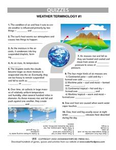 Quiz:  Weather Terminology #1 Lesson Plan