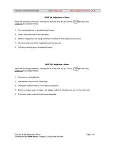 QUIZZES 3A and 3B: Adjectives + Noun Worksheet