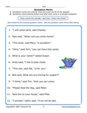 Quotation Marks 3 Worksheet
