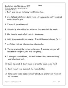 Quotation Use: Worksheet #2 Worksheet