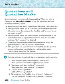 Quotations and Quotation Marks Worksheet