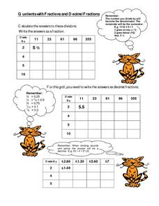 Quotients with Fractions and Decimal Fractions Worksheet