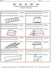 ... ar, er, ir, or, ur Kindergarten - 1st Grade Worksheet | Lesson Planet