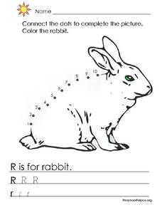 R is for Rabbit - Dot to Dot and Printing Practice Lesson Plan