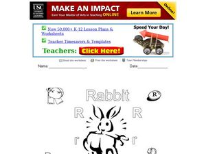 R Is for Rabbit Worksheet